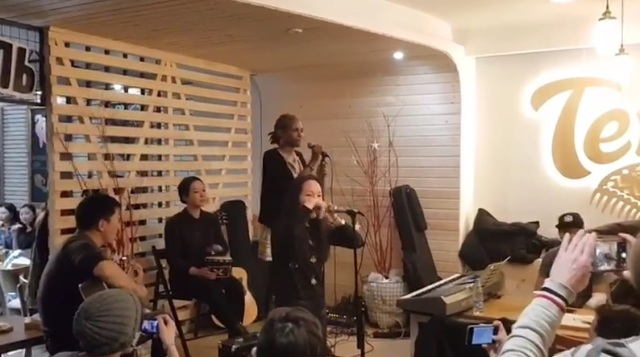 Acoustic band in Yakutsk Russia: guitar, drums, khomus and vocals